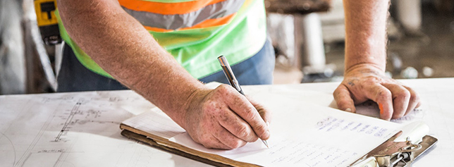 construction worker filing prequalification form