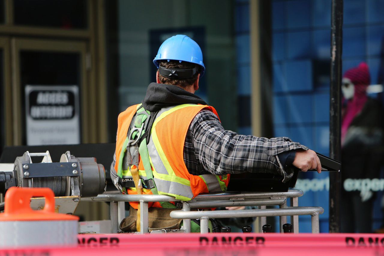 construction worker on the job wearing safety equipment