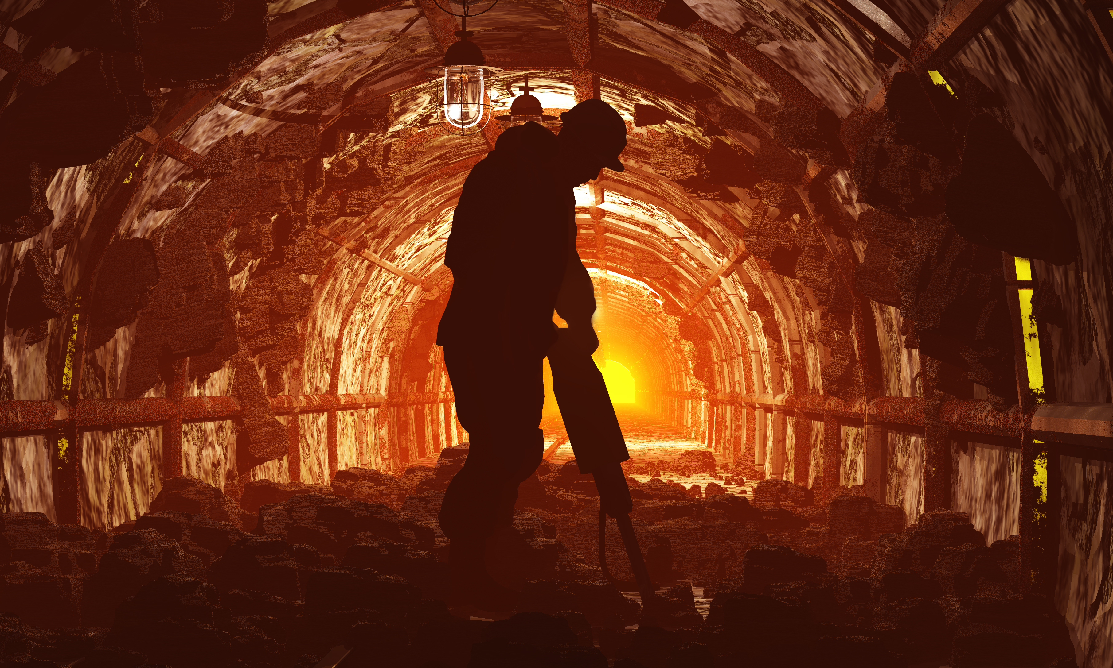 silhouettes of workers in the mine